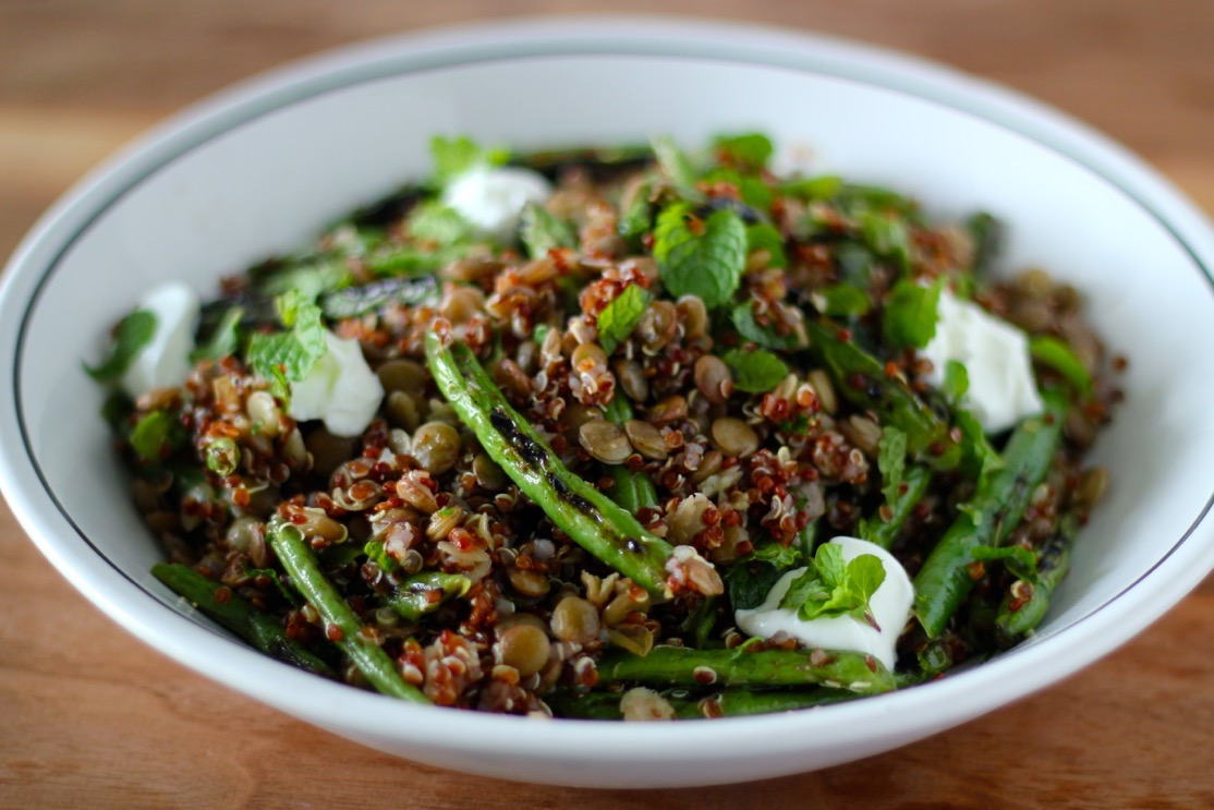 Grilled Green Bean Salad with Quinoa and Lentils