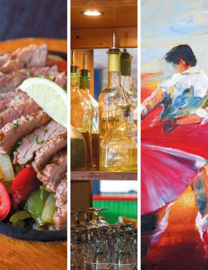 Steak fajitas, tequilas, and artwork