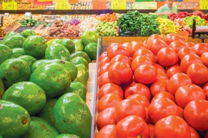 Florida avacados and tomatoes showcased in the produce section