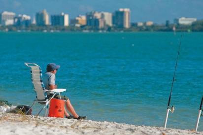 fishing at Lido Key Beach
