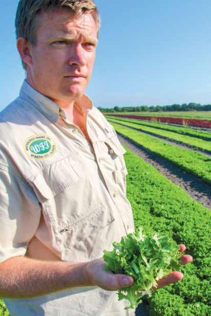 Guy Averill showing his freshly harvested Watercress at Watercress farms