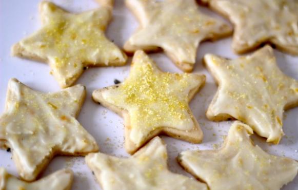 Glazed Orange-Lavender Butter Cookies