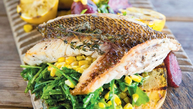 cast iron snapper and grilled fingerlings and corn salad with meyer lemon vinaigrette