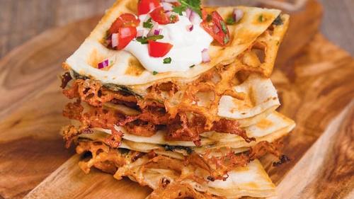 Spinach & Mushroom Waffle Quesadillas