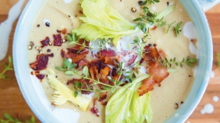 Creamy Celery & Bean Soup with Coconut and Crispy Bacon