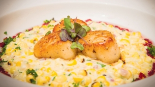 "Seared Scallops over Grilled Cream Corn and Jalapeño ""Risotto Style"""