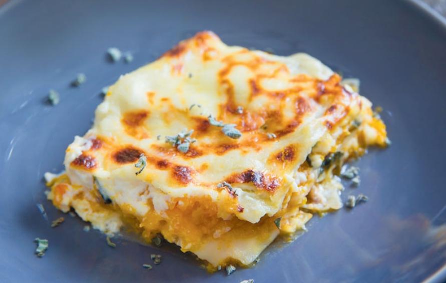 Butternut Squash, Caramelized Onion & Spinach Lasagna